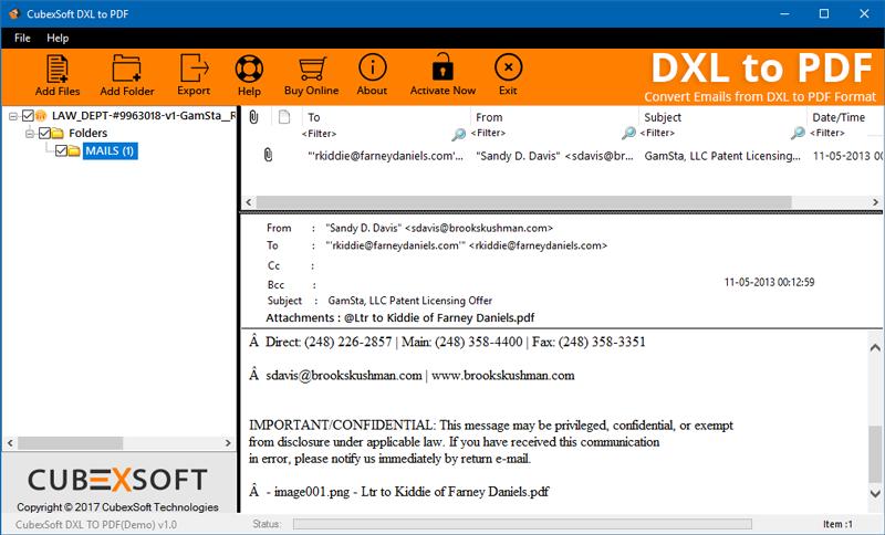 MailsMagic DXL to PDF Converter