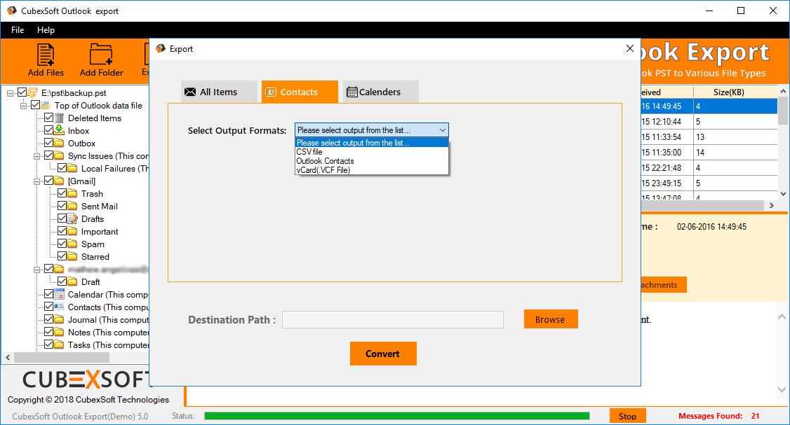 MailsMagic PST to VCF Converter